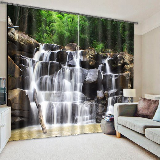 Spectacular Waterfall Print 3D Curtain