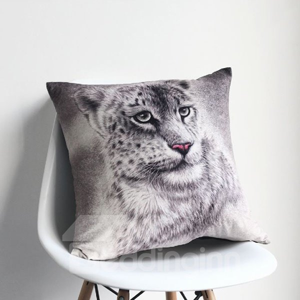 Adorable Snow Leopard Printing European Style Comfy Throw Pillow