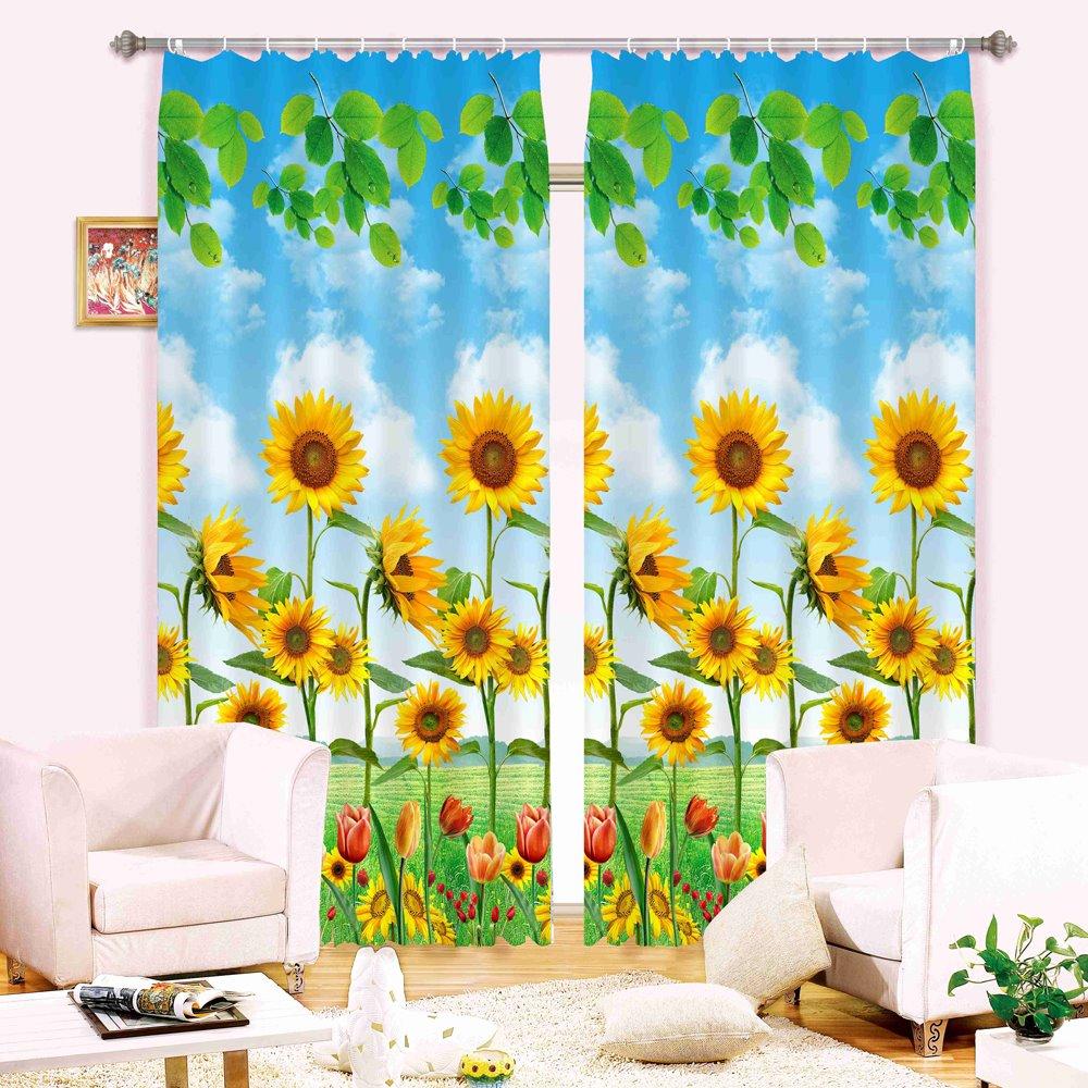 Super Pretty Sunflowers Print 3D Blackout Curtain