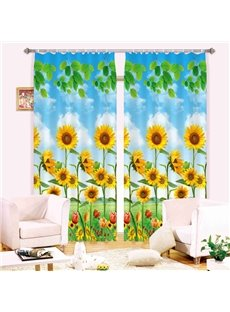 Super Pretty Sunflowers Print 3D Blackout Curtain