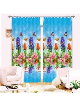 Super Lovely Flowers Butterflies 3D Blackout Curtain