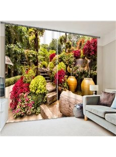 Elegant Garden with Flowers Printing Polyester 3D Curtain