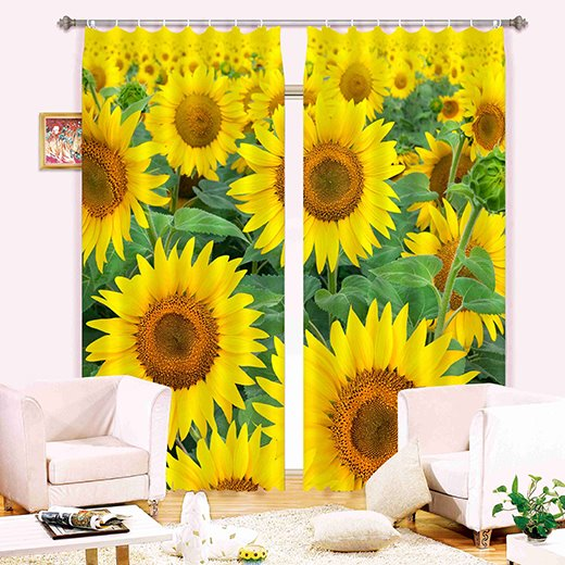Amazing Sunflower Printing Polyester 3D Curtain