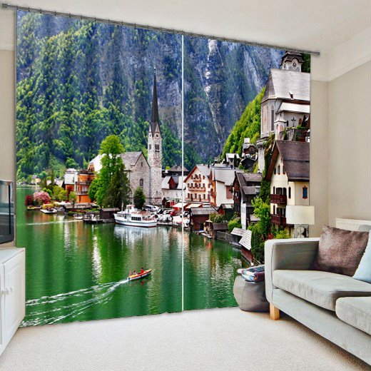 Lakeside Town Print Energy Saving 3D Blackout Curtain