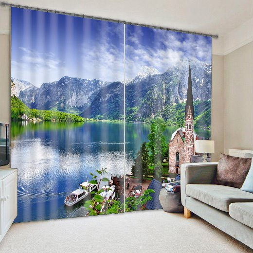 River and Mountain Scenery Printing 3D Curtain