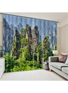 Green Mountains Scenery Print 3D Blackout Curtain