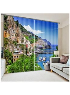 Beautiful Seaside Town Scenery Printing 3D Curtain