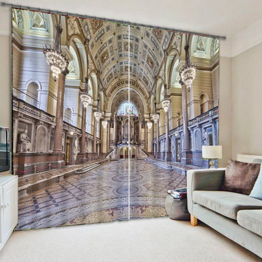 Magnificent Palace Print Room Darkening 3D Curtain