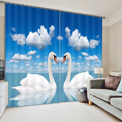 Lovely Swan Print Room Darkening 3D Curtain