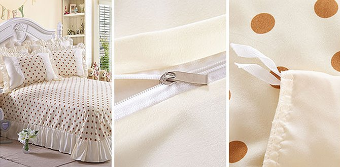 Polka Dots Pattern 4 Piece Organic Cotton Duvet Cover Sets