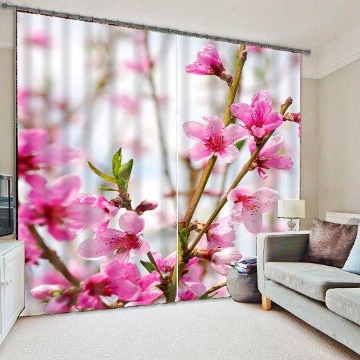 Wonderful Pink Flower Room Darkening 3D Curtain