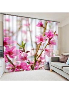 Wonderful Pink Flower Room Darkening 3D Curtain