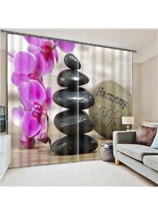 Wonderful Pink Flower Light Blocking 3D Curtain