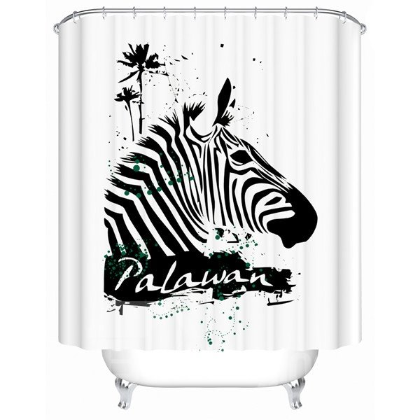 Superior Striated Palawan Zebra Design Shower Curtain