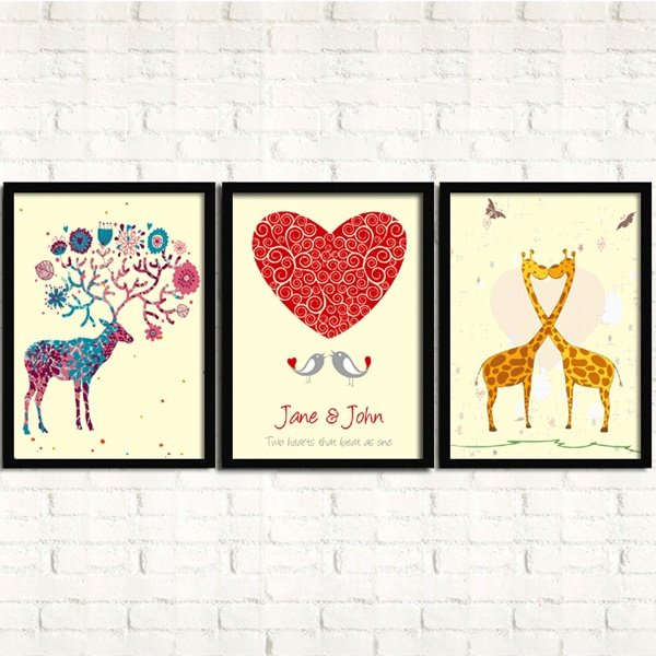 Wonderful Love Cartoon Animal 3-Panel Framed Wall Art Prints