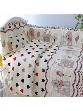 Heart Shape Pattern 10-Piece Cotton Baby Crib Bedding Set