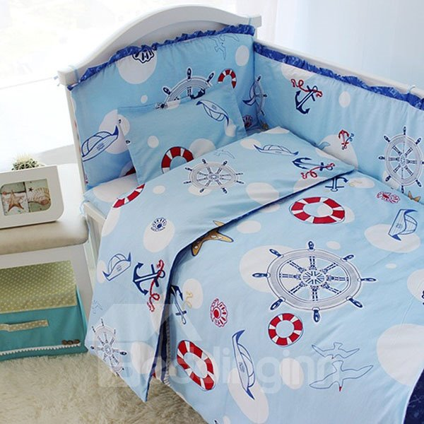 Navy Style 10-piece Cotton Baby Crib Bedding Set