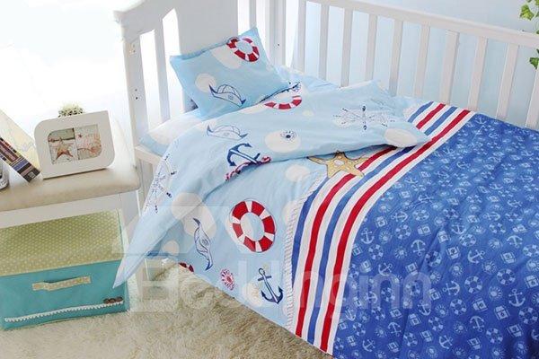 Navy Style 10-piece Cotton Baby Crib Bedding Set