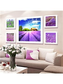 Gorgeous High-Definition Lavender Field 5-Panel Wall Art Prints
