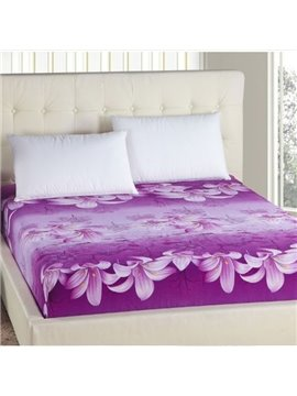 Graceful Purple Lily Elastic Cord Design Fitted Sheet