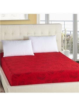 Super Comfy Rose Printing Red Fitted Sheet
