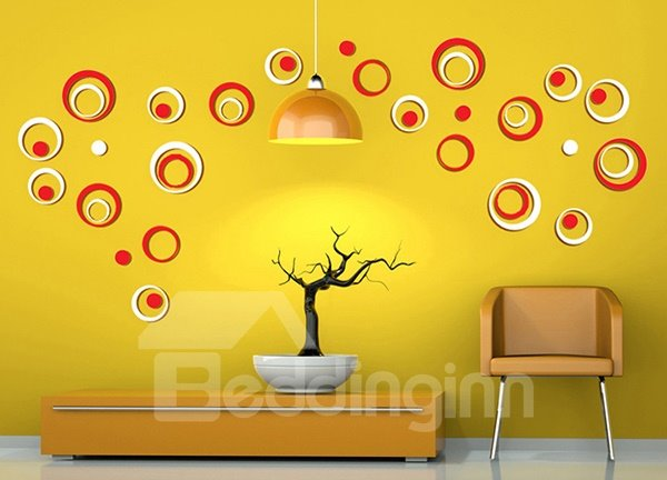 Creative DIY Decorations Polka Ring Background 3D Wall Sticker