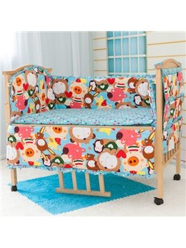 Happy Animals Party 6-Piece Cotton Crib Bedding Set