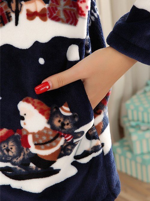Charming Merry Christmas Design Thicken Flannel Pajamas Sets
