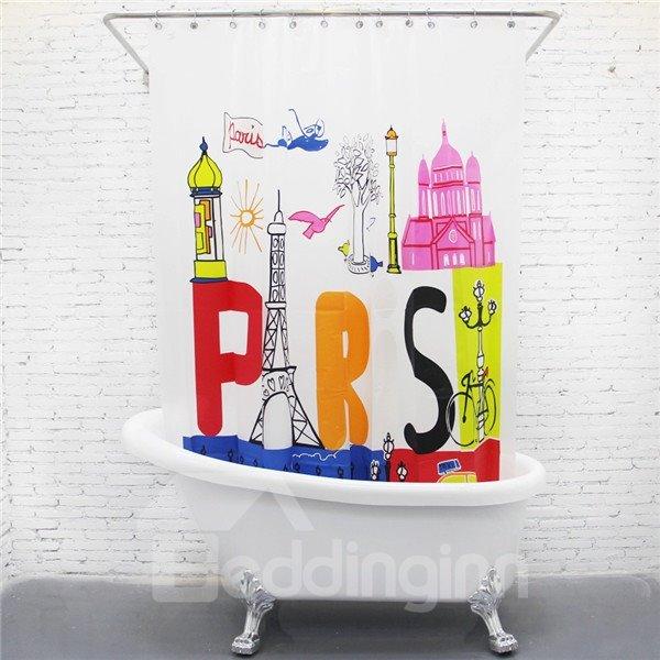 Unique Paris Travel Print EVA Shower Curtain