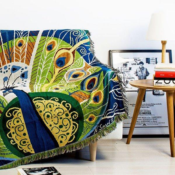Gorgeous Novel Peacock Print Soft Cotton Blanket