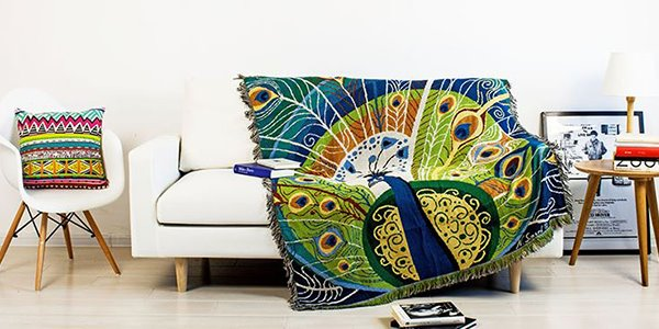 Gorgeous Novel Peacock Print Soft Cotton Blanket