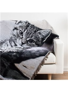 Vogue Fire-eyed Cat Print Super Cozy Cotton Blanket