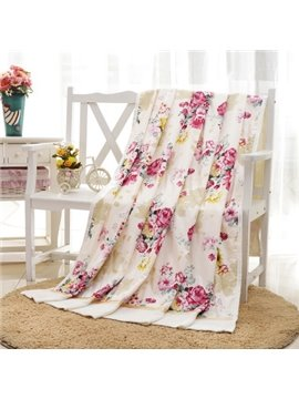 Fancy Refreshing Flowers Design Bamboo Fiber Blanket