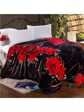 Romantic Rose Print with Black Background Polyester Blanket