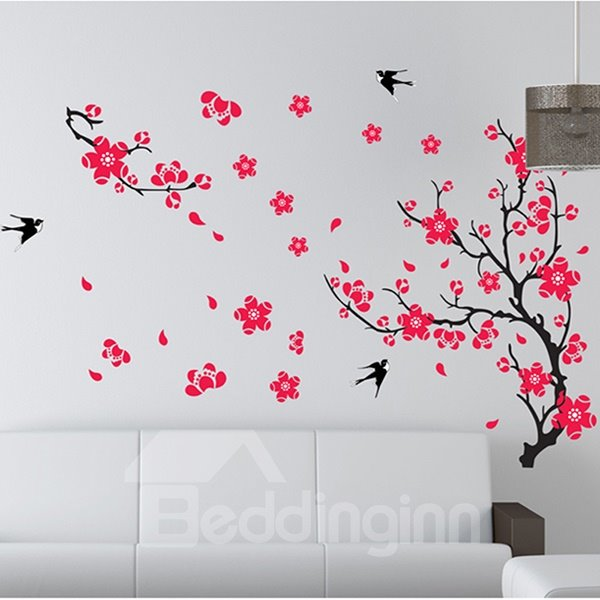 Gorgeous Plum Blossom and Swallows Extra-Large Removable Wall Sticker