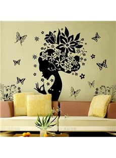 Romantic Flower Fairy and Butterfly Extra-Large Removable Wall Sticker