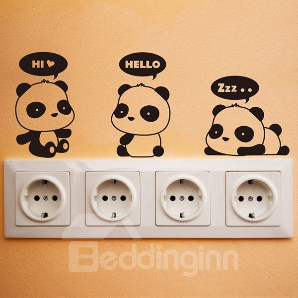 super cute little pandas 1 set switch lights removable panda wall sticker achetez des lots 224 petit prix panda