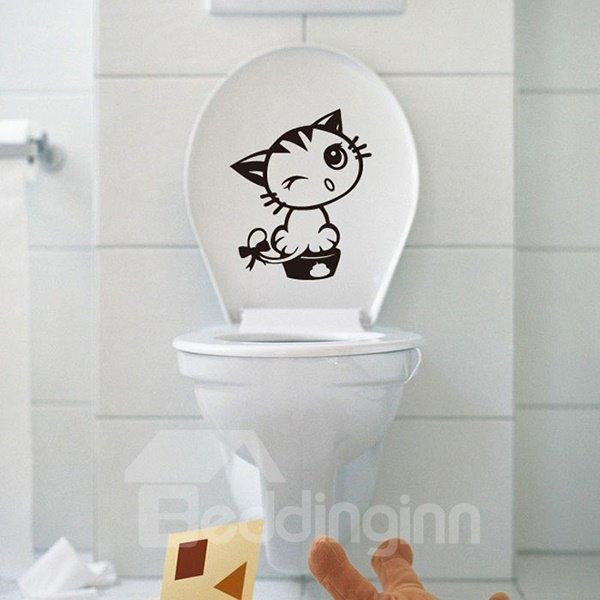 Super Cute Little Kitten Water-Proof Bathroom Wall Sticker