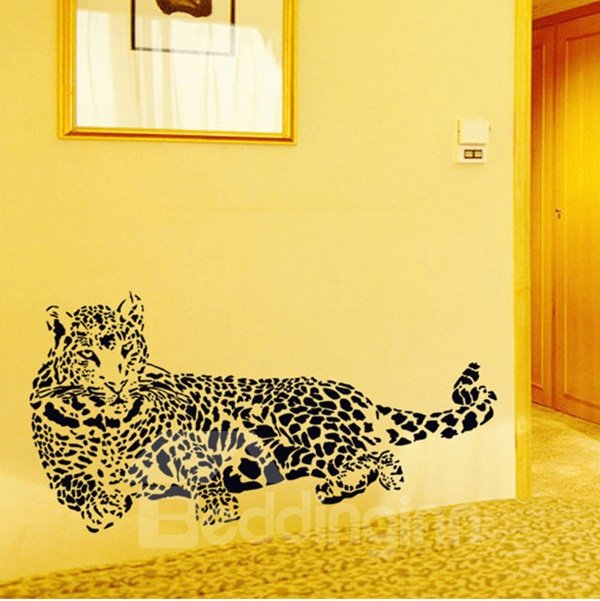 Black Vivid Majestic Crouching Leopard Pattern Removable Wall Sticker