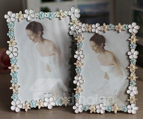 Beautiful Metal Colorful Flower Frame 6-inch Desktop Photo Frame