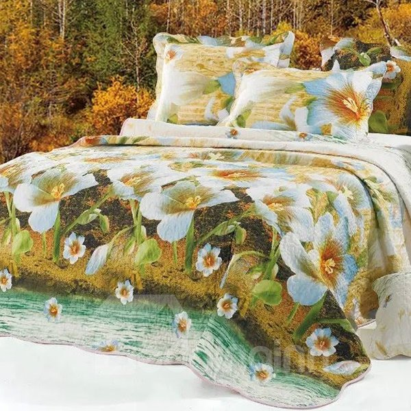 Lifelike Flowers Print Bed in a Bag