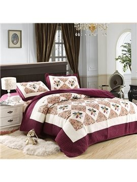 Noble Graceful Flowers Print Cotton Bed in a Bag