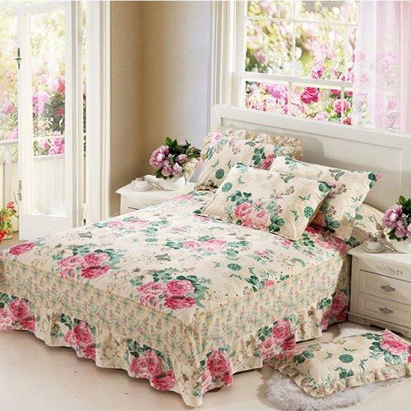 Pastoral Style Flower Design Cotton Bed Skirt