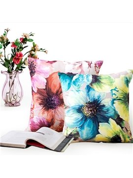 Retro Oil Painting Flower Design Throw Pillow