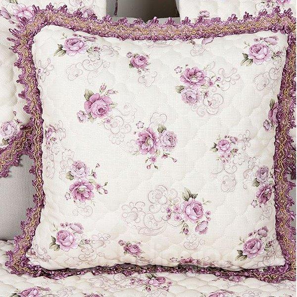 Romantic Rose Print European Style Flax Throw Pillow Case