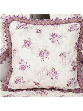 Romantic Rose Print European Style Flax Throw Pillow Case