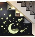 Amazing Romantic Luminous Moon and Stars Removable Wall Sticker