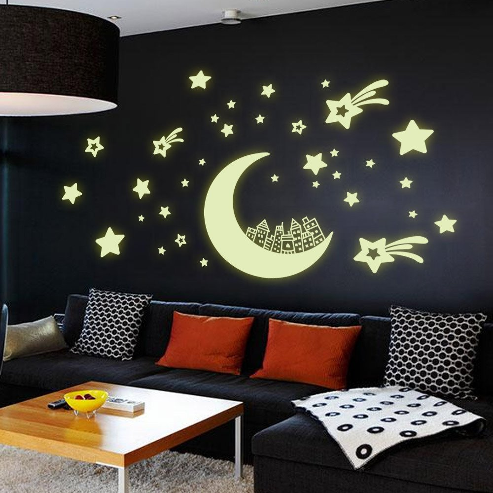 Amazing romantic luminous moon and stars removable wall for Decoration autocollant mural