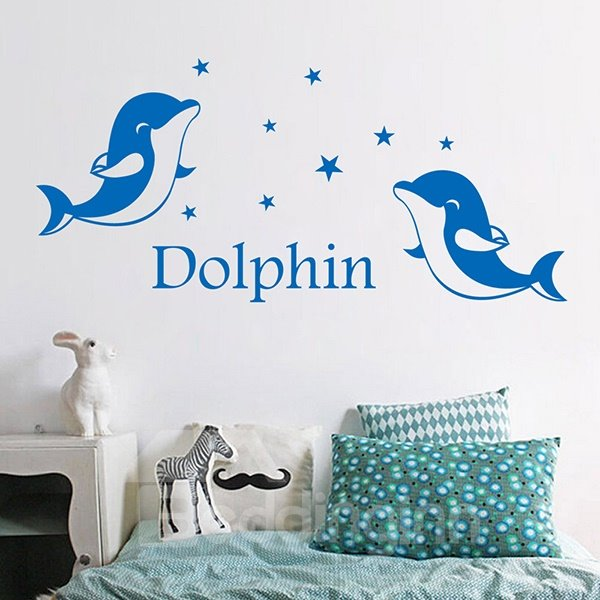 nursary dolphins and stars removable wall sticker blue dolphin decorative wall stickers zazzle