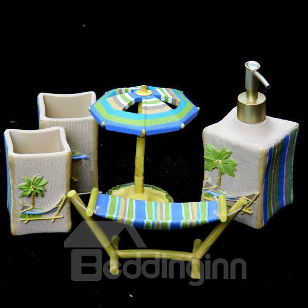 Charming Beach Style Coconut Tree Print Bathroom Accessories